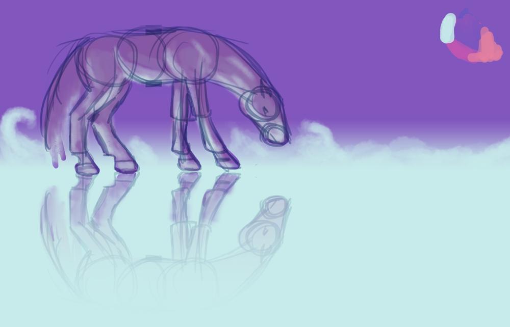 Cheval se regardant dans l'eau dans les tons violets