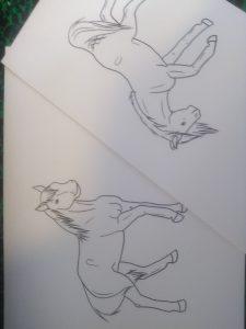 Lineart de deux chevaux par Scotis