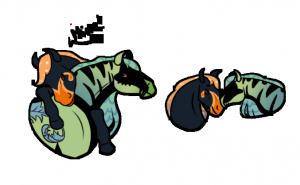 Chevaux colorés se faisant un câlin, dessin de Scotis