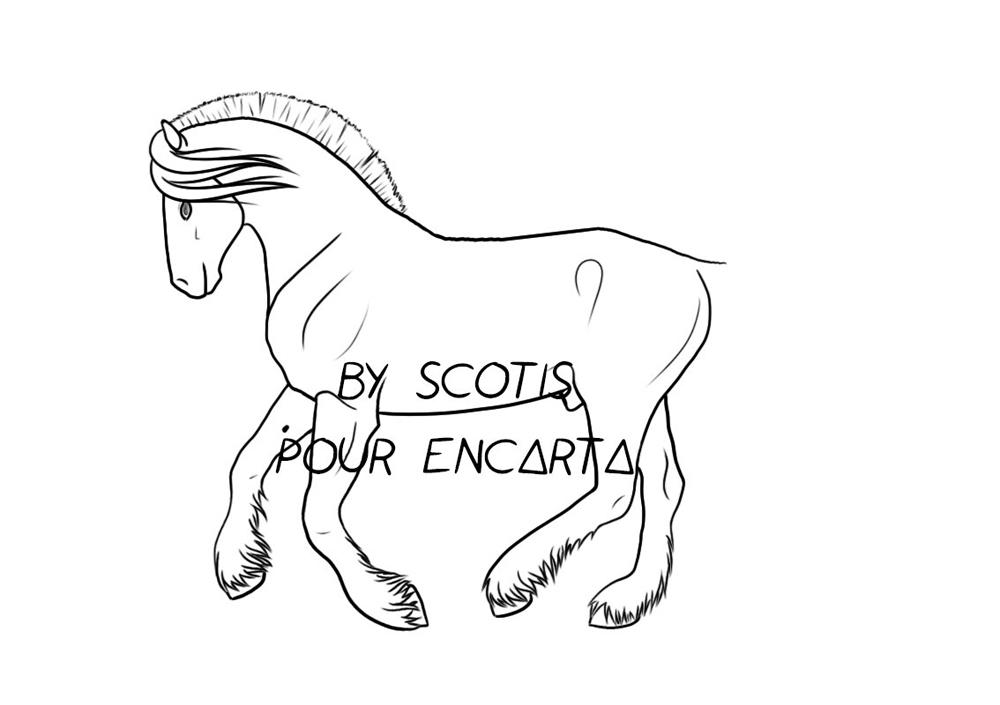 Lineart d'un cheval au galop pour Encarta