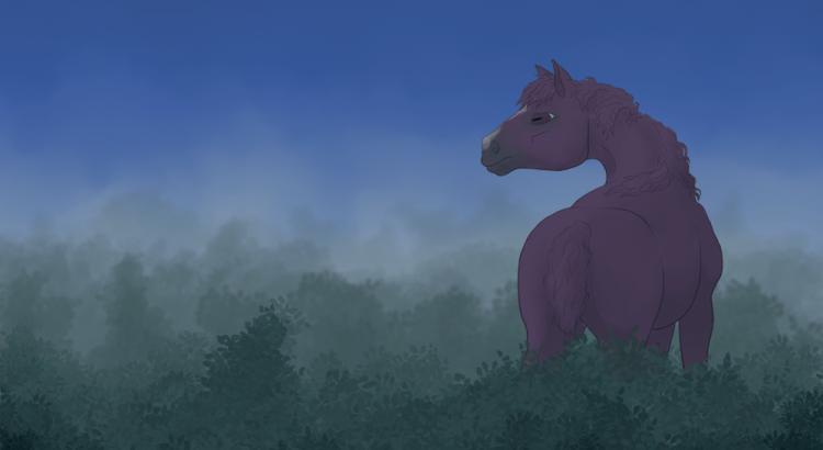 Cheval alezan dans la brume du matin