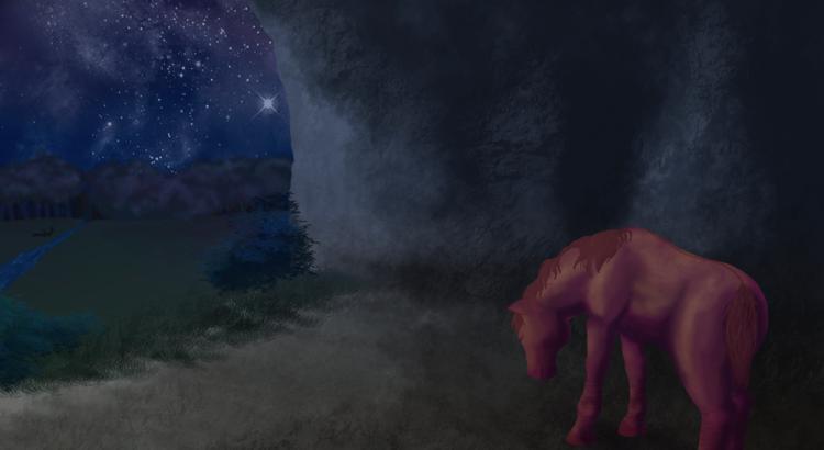 Cheval alezan dun dans une grotte avec en fond la voie lactée