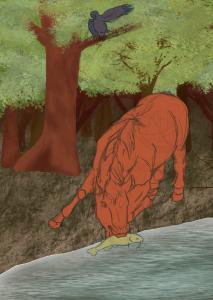 WIP d'une illustration représentant un cheval au bord d'une rivière aidant un poisson