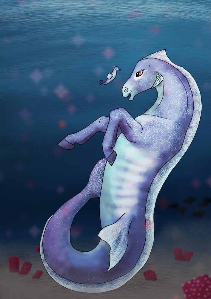 Cheval marin dans l'eau avec un hippocampe