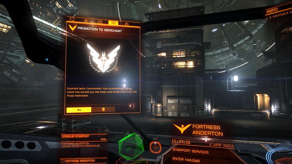 Passage de rang sur le jeu vidéo Elite Dangerous