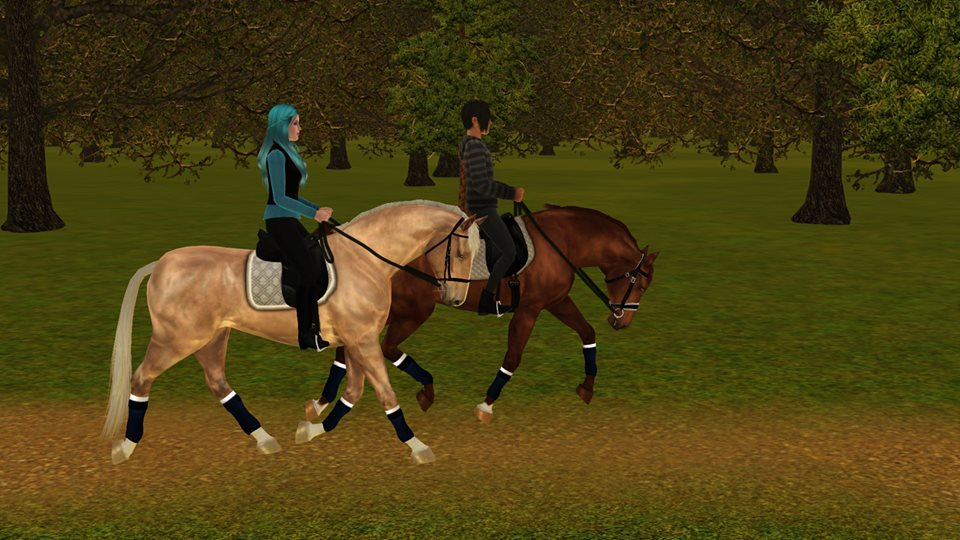 Screenshots Sims 3 : Surprise d'Eden (jument selle français palomino) et Cinnamon roll too long in the oven (étalon selle français alezan)