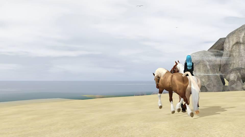Screenshots Sims 3 : jument OC silver bai rouan et jument trait des plaines alezan rouan flaxen splash