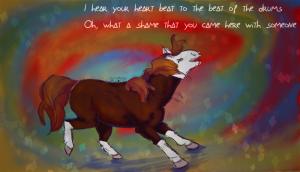 Illustration d'une jument pie alezan dansant sur une chanson de Ke$ha