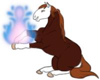 Figure de cheval alezan du nom d'Alekiss faisant de la magie.
