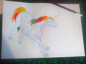 Coloration à l'aquarelle de la licorne