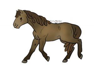 Dessin d'un cheval de couleur champagne à l'amble par Scotis