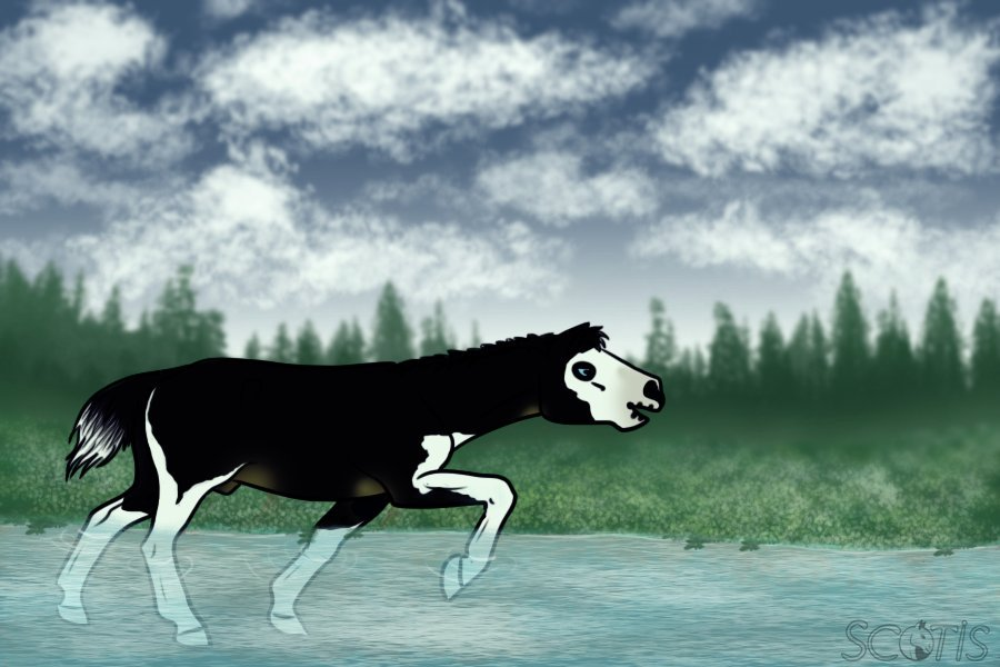 Illustration numérique représentant un cheval de Scotis