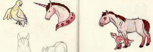 Dessin au bic et crayon de couleur de chevaux.