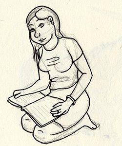 Dessin d'une jeune femme lisant un livre