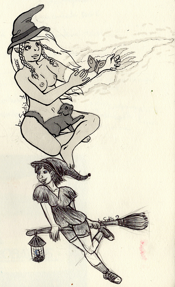 Sorcière pratiquant la magie, dessin par Scotis