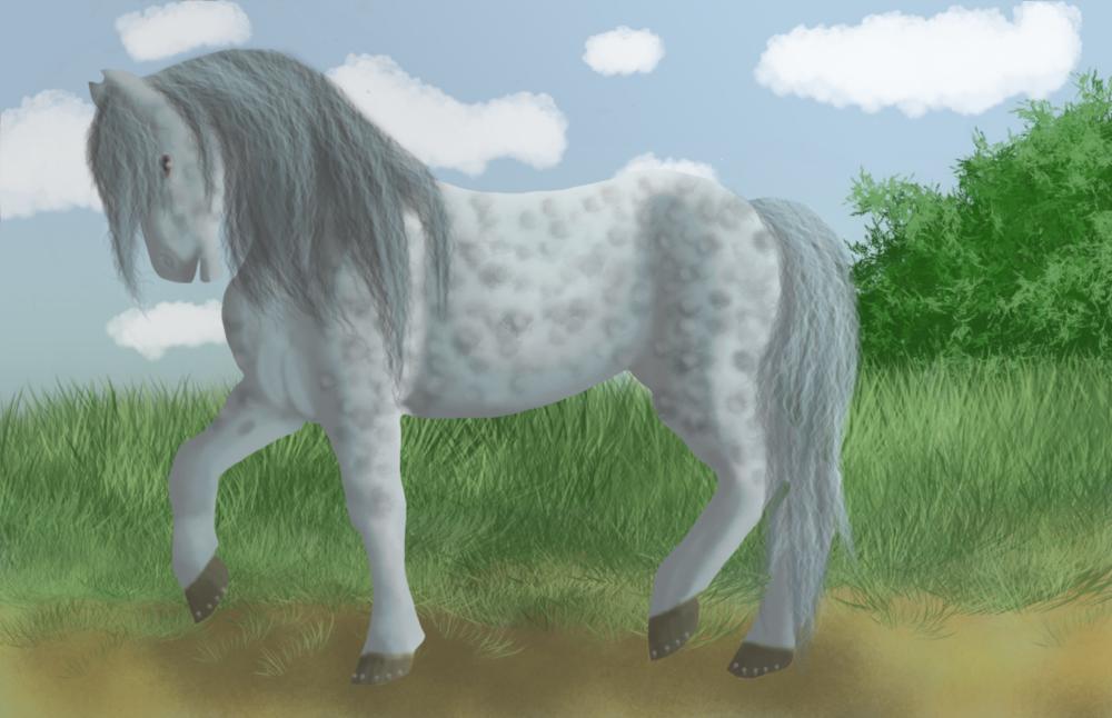 Dessin d'un cheval bleu