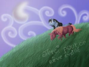 dessin de deux chevaux courant dans une prairie