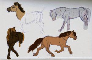 croquis de quatres chevaux