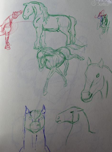 Quelques croquis de chevaux dans diverses positions, sans modèle.