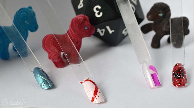 Mes quatre essais : 3D au gel-pen, watermarble (avec quelques points au dotting tool), bolduc et heu ... confetti ?