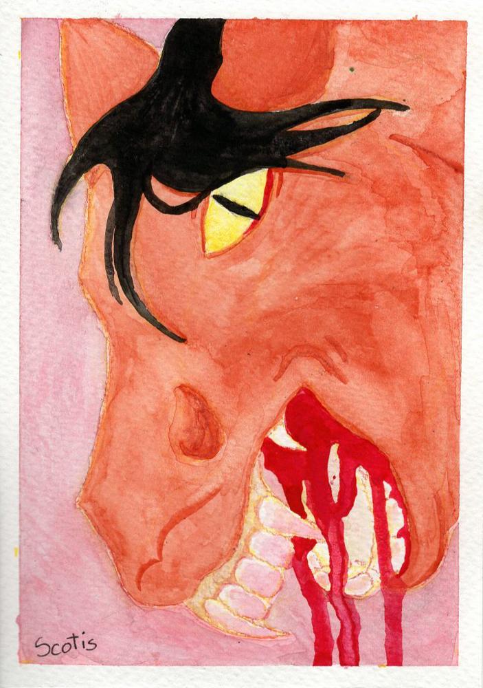 Aquarelle d'un cheval zombie bai crachant du sang