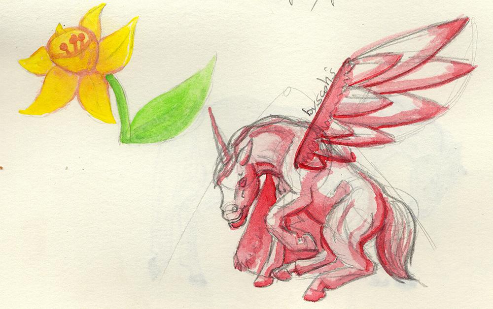 Aquarelle de chevaux et fleurs, par Scotis