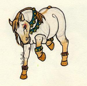Cheval dansant à l'aquarelle avec des cloches