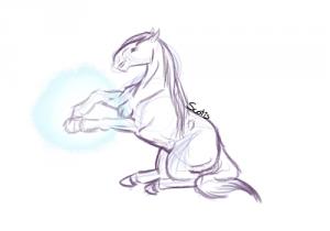 Croquis d'un cheval assis qui fait de la magie