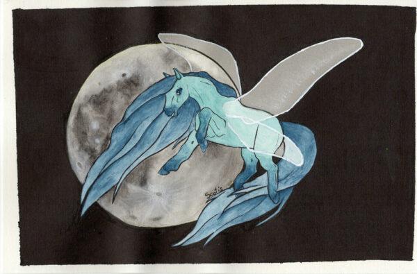 Aquarelle d'un cheval ailé (Pégase) bleu devant une lune sur fond noir