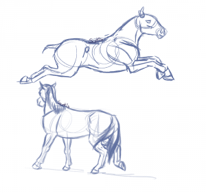 Croquis de deux chevaux par Scotis