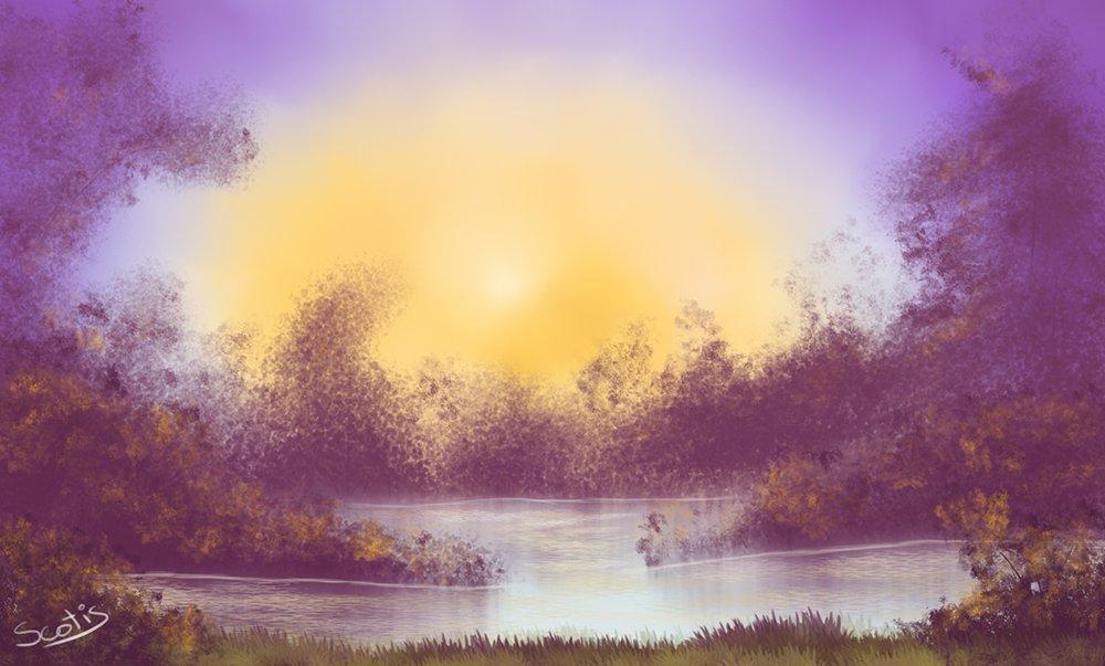 Paysage violet et jaune