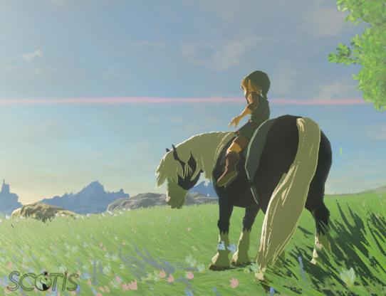 Link et un cheval sauvage noir silver se baladant sous l'orage dans Les Collines.