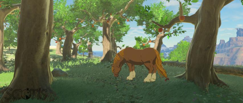 Un cheval sauvage alezan dans Les Collines.