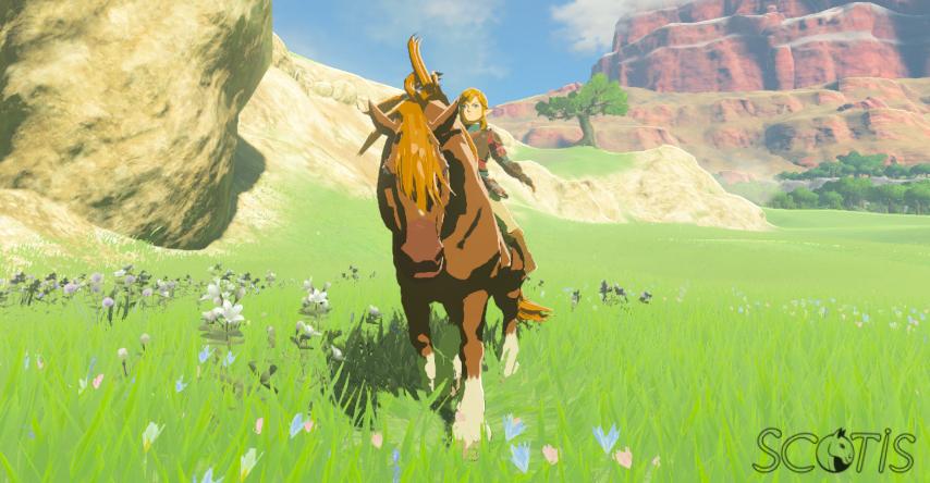 Link et un cheval sauvage alezan dans Les Collines.