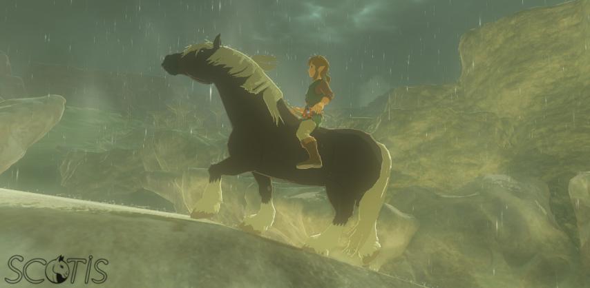 Link et un cheval sauvage bai silver se baladant sous l'orage dans Les Collines.