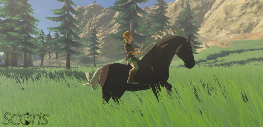 Link et un cheval sauvage bai silver dans la Région Piaf