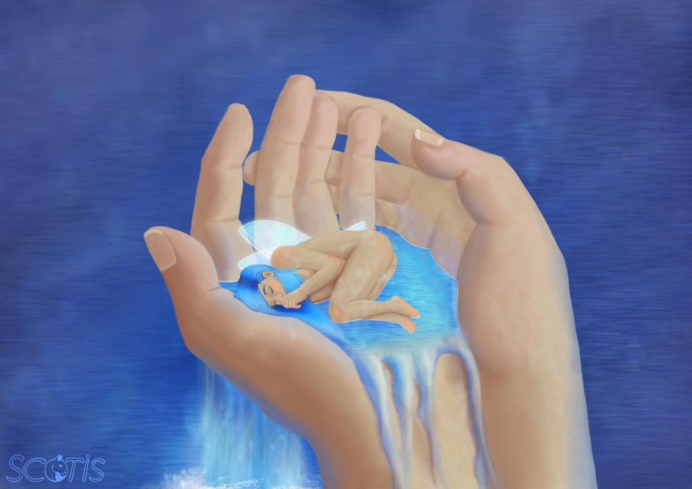 Fée aqueuse endormit dans les mains d'un humain, illustration numérique par Scotis