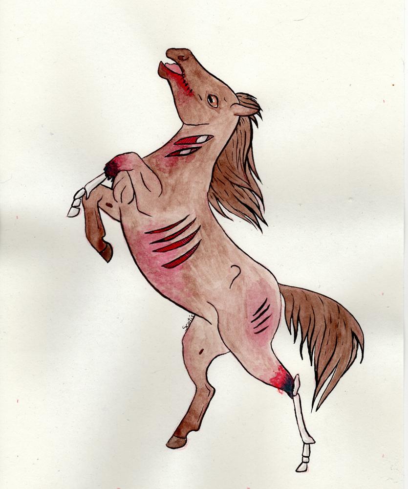 Cheval zombie ensanglanté alezan, aquarelle par Scotis