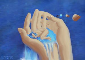 Fée aqueuse endormit dans les mains d'un humain, illustration numérique par Scotis WIP
