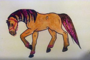 Cheval bai avec des paillettes rouges à l'aquarelle