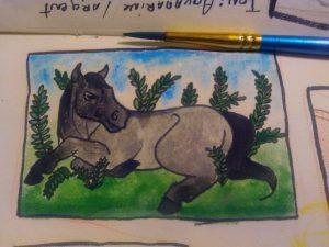 Cheval noir dun allongé dans les fougères à l'aquarelle