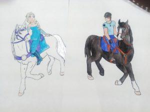 Cadeau pour les enfants d'une amie représentant un policier à cheval et Elsa, de la reine des neiges à l'aquarelle