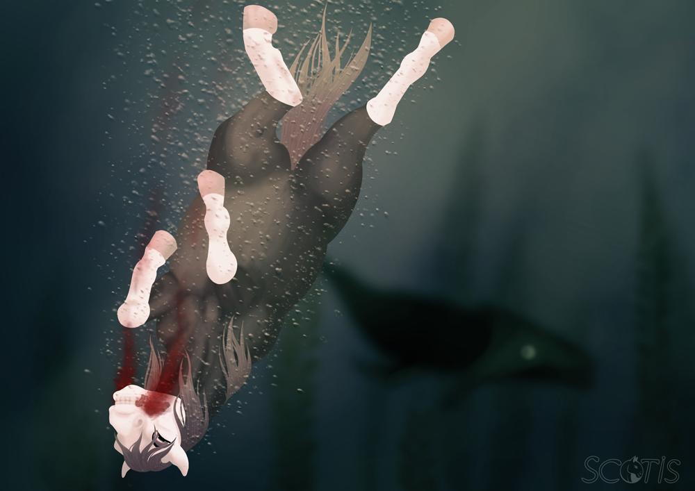 Alekiss, jument alezan se noyant dans les fonds marins, sous le regard d'un requin. Peinture numérique par Scotis