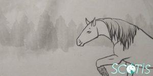 Cheval peint à l'encre de chine