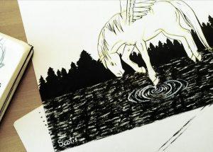 Illustration en cours de réalisation d'un pegase à l'encre de chine