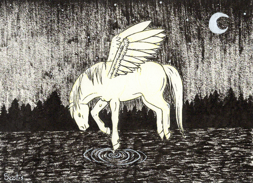 Illustration à l'encre de chine de Charlotte, représentant un pegase au dessus d'eau dans la nuit