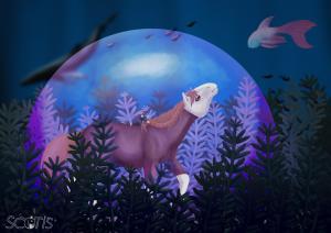 """"""" Laisse l'océan te rendre libre """" illustration au fonds de l'océan par Scotis (Charlotte Leclère)"""