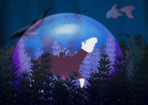 """Peinture du plan moyen de l'illustration """" Laisse l'océan te rendre libre """" par Scotis"""