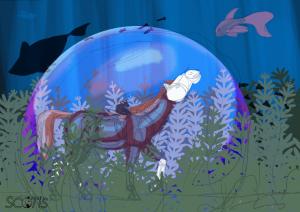 """Recherches de couleurs et de composition de l'illustration """" Laisse l'océan te rendre libre """" par Scotis"""