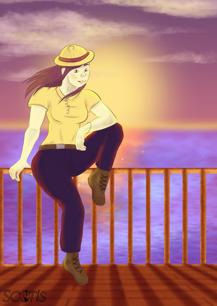 Illustration numérique de Lephista réalisée par Scotis avec un couché de soleil sur la mer